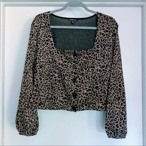 Leopard Spotted Square Neck Buttoned Peasant Top